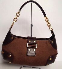 Authentic  Hugo Boss  Purse  Shoulder Bag Brown Leather/Cotton Worn Once