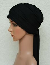 Chemo head wear, black head covering, chemo turban , chemo hat, bad hair day