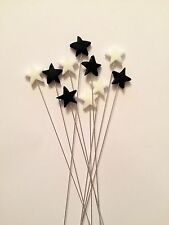 Edible Star Spray Black And White Cake Topper Decoration