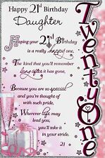 Happy 21st Birthday Daughter Pink Glittery Sentimental 3 Fold Greetings Card