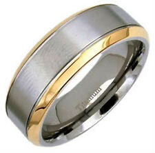 TITANIUM Plain Men's Ring Band with Gold Plated Edges, size 12 - in Gift Box