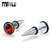 TTstyle 8mm Red Ying&Yang Clear Epoxy Surgical Steel Fake Spike Earrings A Pair