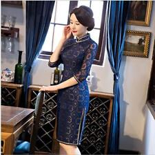 New red/blue chinese women's Evening lace embroidery Dress Ball Cheongsam s-xxl