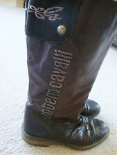 *Rare* ROBERTO CAVALLI Angels Girls Boots tall brown 36 5/6 LEATHER bling Ladies