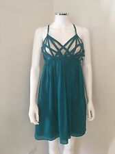 New ADAM LIPPES COTTON Bustier Teal Babydoll DRESS SIZE 6