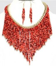 Red Coral Seed Bead Designer Gold Chunky Bib Gemstone Layered Necklace Set