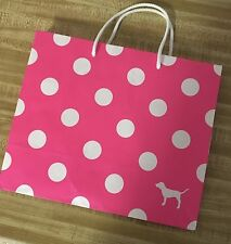 PINK. Neon Pink & white polka dot gift bag tote sack. 9 by 11 inch. New
