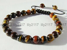 Men's Shambhala bracelet all 8mm NATURAL TIGER EYE STONE GEMS ROUND BEADS