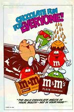 M&M's: MARS Candies Milk Chocolate Pool: GREAT ORIG VINTAGE 1980's PRINT ART AD