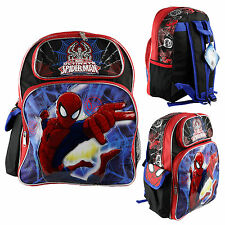 "Marvel Ultimate Spider Man Kids 16"" Large School Backpack Canvas Book Bag New"