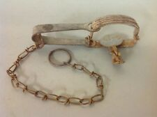 LOT #16 VINTAGE ANTIQUE BLAKE AND LAMB #1 SINGLE SPRING ANIMAL TRAP AND CHAIN