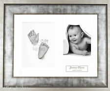 New Unique Baby Casting Kit Gift Silver Hand & Feet Casts Urban Metal 3D Frame