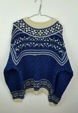 VTG WOMENS NORWEGIAN OVERSIZED WINTER TRIBAL AZTEC SWEATSHIRT JUMPER VGC UK