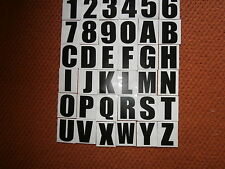 7 SELF ADHESIVE /  NUMBER PLATE  LETTERS AND NUMBERS/BLACK WHITE BACK GROUND