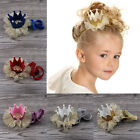 Cute Baby Girls Crown Princess Hair Clip Gold Glitter Lace Pearl Headband Tiara