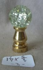 "Lamp Finial 5/8""crackle glass ball br. base 1 1/4""h (priced per each) b"