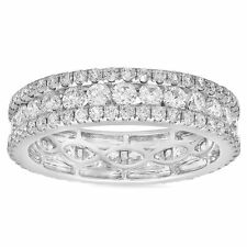 Natural Womens 18K White Gold 2.46CT Round Cut Diamond Eternity Ring Band Size 6