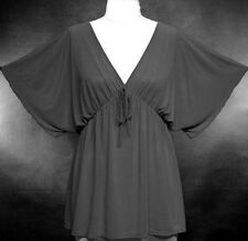 Gypsy Peasant Elastic Empire-Waist Top ~Gray~2X ~18/20~Plus Size Shirt /Blouse