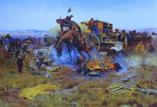 "Charles Russell print ""Bucking Horse in Cowboy Camp"""
