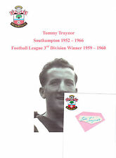 TOMMY TRAYNOR SOUTHAMPTON 1952-1966 RARE ORIGINAL HAND SIGNED CUTTING/CARD
