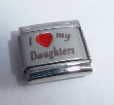 I LOVE MY DAUGHTERS Italian Charm RED HEART - Girls 9mm fits Classic Bracelets