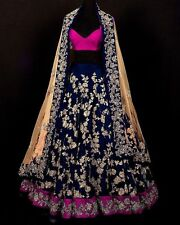 Bollywood Designer Lehenga Choli Wedding Lehenga Ethnic Women Blue Silk Dress
