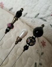 Antique Inspired Vintage Victorian Hat Pins Peacock Pattern Lampwork Beads