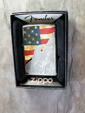 "Zippo ""Fender Guitar"" with estados unidos flag-Chrome pulido-nuevo con embalaje original - #508"