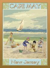 Cape May, NJ - Vintage Art Deco Style Travel Poster- Aurelio Grisanty