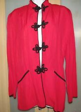 Pretty elegant goth RED asian style top w/Black frog buttons FRANCINE BROWNER M