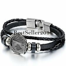 Poker Card Charm Multi-layer Leather Rope Men's Cuff Bangle Bracelet Wristband
