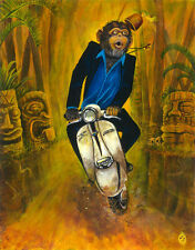 Chimp Scooter Lambretta Lowbrow Kustom Art Print Ape Monkey Tiki Bar Surf Music