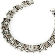 NWT SWEET ROMANCE BOLD BAGUETTE CUT CRYSTAL ART DECO NECKLACE  MADE IN USA