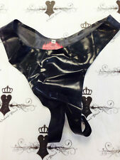 R421 Girlie Open crotch THONG MEDIUM Westward Bound *Black* LATEX Burlesque