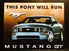This Pony Will Run Ford Mustang TIN SIGN Metal Garage Wall Decor Poster