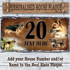 Personalised Alsaziano Pastore Tedesco Custom House Ardesia Firmare Numero Nome Regalo