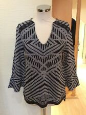Aldo Martins Sweater Size 12 BNWT Black And Grey Striped RRP £120 NOW £54