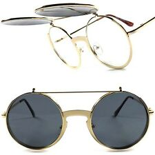 Gold Vintage Retro Steampunk Django Hipster Hippie Flip Up Round Sunglasses G0