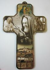 "St Padre Pio Picture Wall Cross on Wood  5"" Made in Italy"
