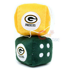 NFL Green Bay Packers Plush Fuzzy Dice Team Logo Auto Accessories