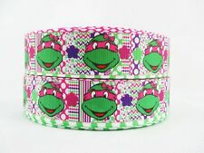 1 METRE NINJA TURTLE RIBBON SIZE 1 INCH BOWS HEADBAND BIRTHDAY CAKES HAIR CLIPS