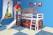 COSMETIC DAMAGED Wooden Mid Sleeper Cabin Bunk Bed Kids Tent Slide White F1