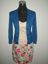 3 pc. beige corset blouse green floral pencil skirt indigo blue cardigan jacket
