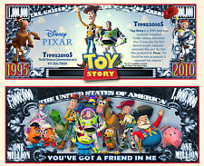 TOY STORY  BILLET 1 MILLION DOLLAR US! Collection dessin animé Walt Disney Pixar