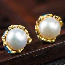 PRETTY 7.5MM FRESH WATER PEARL 925 STERLING SILVER CLOISONNE EARRINGS