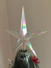 LARGE CLEAR IRIDESCENT AURORA STAR TOPPER Vintage Ceramic Christmas Tree Lights