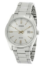 Casio MTP1302D-7A2 Mens 50M Stainless Steel Dress Watch Silver Dial Gold Markers