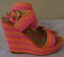 STUART WEITZMAN Alex Wedges Neon Pink Orange Stripe Raffia Sandals SZ 9 $425