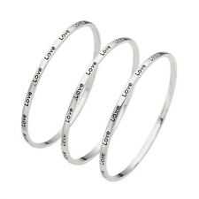 Ladies Silver 'Love' Engraved Message Bangles - Set of 3