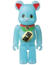 Bearbrick S33 Medicom 33 Animal 100% Blue Lucky Cat Glow in Dark GID be@rbrick
